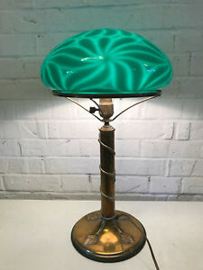 Antique-Brass-amp-Glass-Table-Desk-Lamp-Green-Cased-Glass-Floral-Decoration
