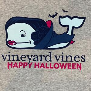 VINEYARD-VINES-Womens-L-S-HALLOWEEN-Vampire-Whale-Fill-Gray-T-shirt-Sz-M-NEW