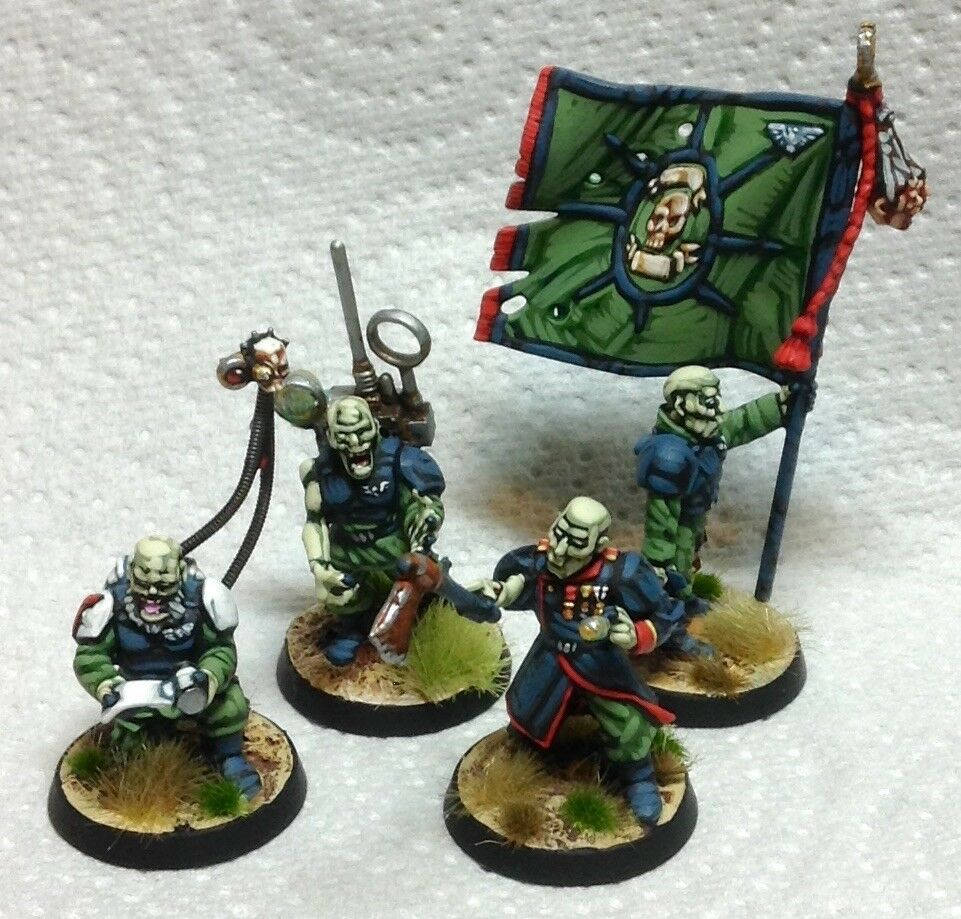 25mm 28mm well painted Warhammer 40K 4 Nurgle Poxwalkers plague zombies cultists