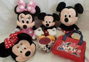 Disney-Mickey-amp-Minnie-Peluche-Bundle-RACCOLTA-Mouse-CANNA-TAZZA-Bag-Purse