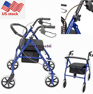 US-Blue-Heavy-Duty-500-lb-Rollator-Walker-Folding-Wide-Seat-W-4-Wheels-amp-Brakes