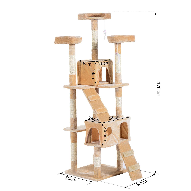 Pawhut Cat Tree Maglie taglienti e piallanti attività centro Cando Graffiare Post Toy Bed 170H cm