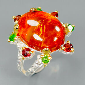 Beauty-Color-Gem-Natural-Amber-925-Sterling-Silver-Ring-Size-9-R89404
