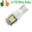 4x-T10-White-LED-Wedge-Lights-Bulbs-Car-5-SMD-5050-DC-12V-W5W-Parking-Lamp thumbnail 1