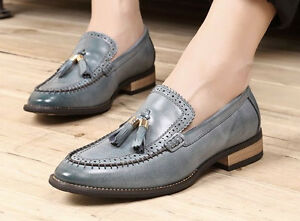 Mocassini Dress Scarpe Pull Faux brogues Leather Drive Mens Fashion Wingtip On Tassel 5FwYnxq
