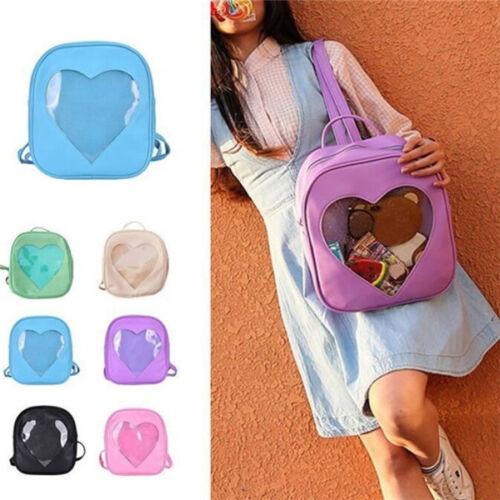 6 Colors CLEAR ita bag Transparent Pin Display Backpack For Kid Heart School Bag