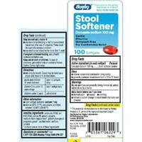 Rugby Stool Softener Laxative Docusate Sodium 100mg 100 Softgels Each on sale