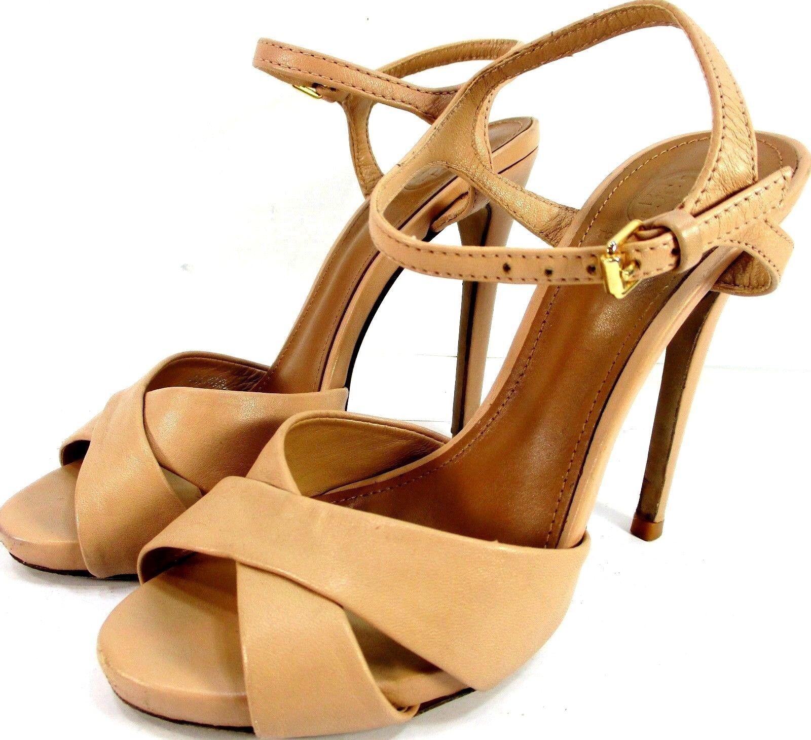 ordinare on-line Tory Burch donna donna donna Heels Dimensione 5.5 M Beige Leather Brass Buckle 5  Heels  tutto in alta qualità e prezzo basso
