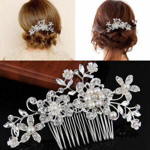 Wedding-Bridal-Flower-Hair-Comb-Diamante-Crystal-Rhinestone-Slide-Clip-Jewe-K4E9