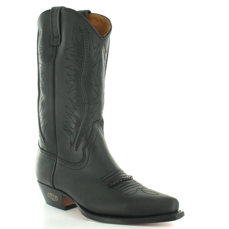 Loblan 2616 Black Waxy Leather Cowboy Boots Hand Made Classic Biker Western 206