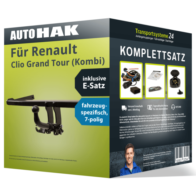 Anhängerkupplung abnehmbar für RENAULT Clio Grand Tour +Elektrosatz Kit (AHK+ES)