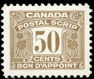 Canada-Mint-H-1967-F-VF-Scott-FPS54-Third-Issue-Postal-Scrip-50c-Stamp