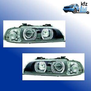 Scheinwerfer-Angel-Eyes-BMW-E39-Limo-Touring-Schwarz-superhelle-weisse-LED-Ringe