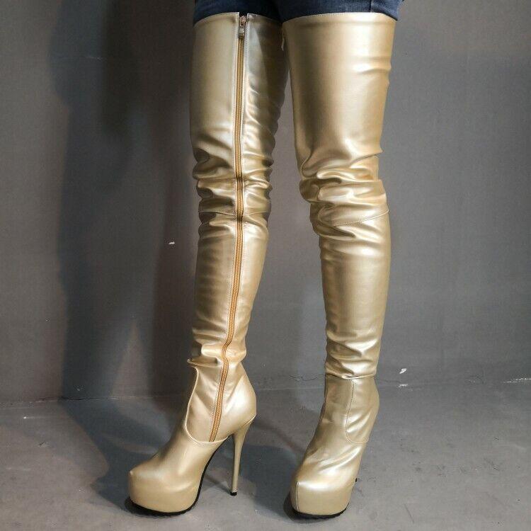8a45491a362 Fashion Women Women Women Over Knee Boots Platform Heels Boots gold ...
