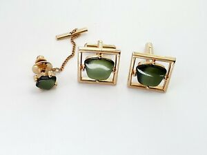 A-VINTAGE-1960s-SARAH-COVENTRY-GOLD-TONE-TIE-PIN-amp-CUFFLINKS-SET