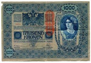 Original-Austria-Tausend-1000-Kronen-Banknote-Munich-1902-Large-note
