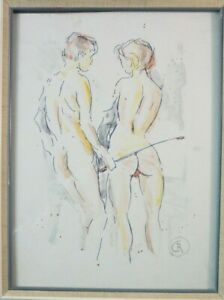 Christian Roos Wilhelmshaven Erotica Watercolour Signed B-17572
