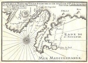 Antique map, Plan de la Baye de Ville Franche et de celle de St. Souspir