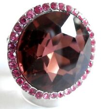 Vintage Style Pink Crystal Silver Stretch Cocktail Party Ring Gift Bag UK