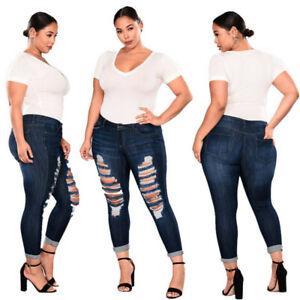 Women Plus Size Ripped Stretch Slim Denim Skinny Jeans Pants High Waist Trousers
