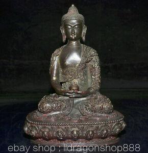 "9.2""Ancien Tibet Bouddhisme Rouge Bronze Doré Shakyamuni Amitabha Bouddha Statue"