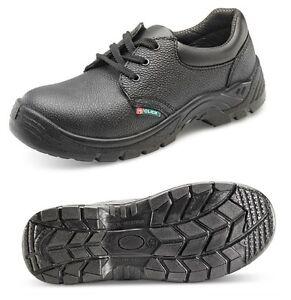 seguridad-laboral-Zapatos-Botas-Cuero-Puntera-de-acero-Click-Negro-Hombre-Dama