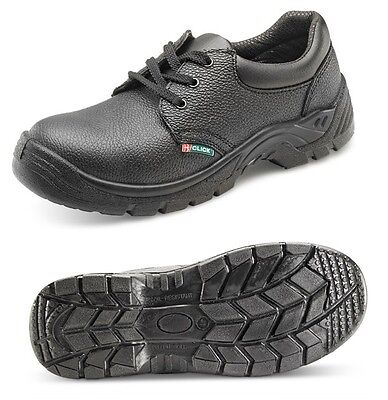 SAFETY WORK SHOES BOOTS LEATHER STEEL TOE CAP CLICK BLACK MENS LADIES SIZES 3-13