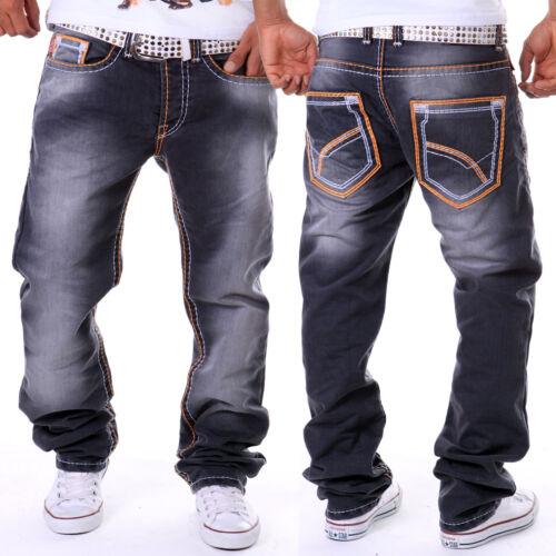 ZAHIDA Uomo Jeans Fit Pantaloni Spessore Cuciture Cuciture Clubwear Grigio Arancione TOPSELLER 111