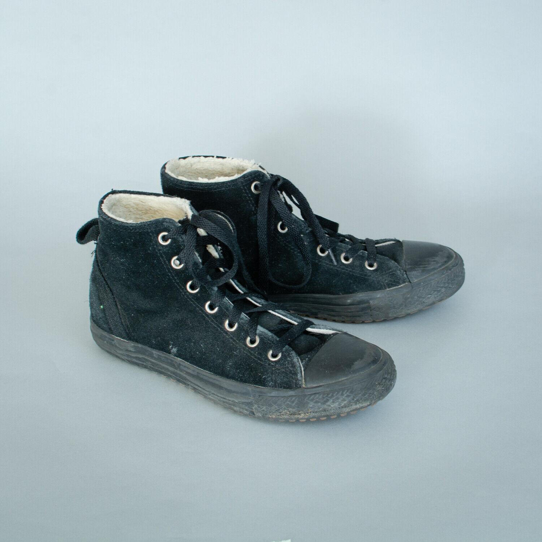 Converse Hi Tops Trainers Sneakers Black Suede Vintage Unisex UK 5 EU 38 US 7