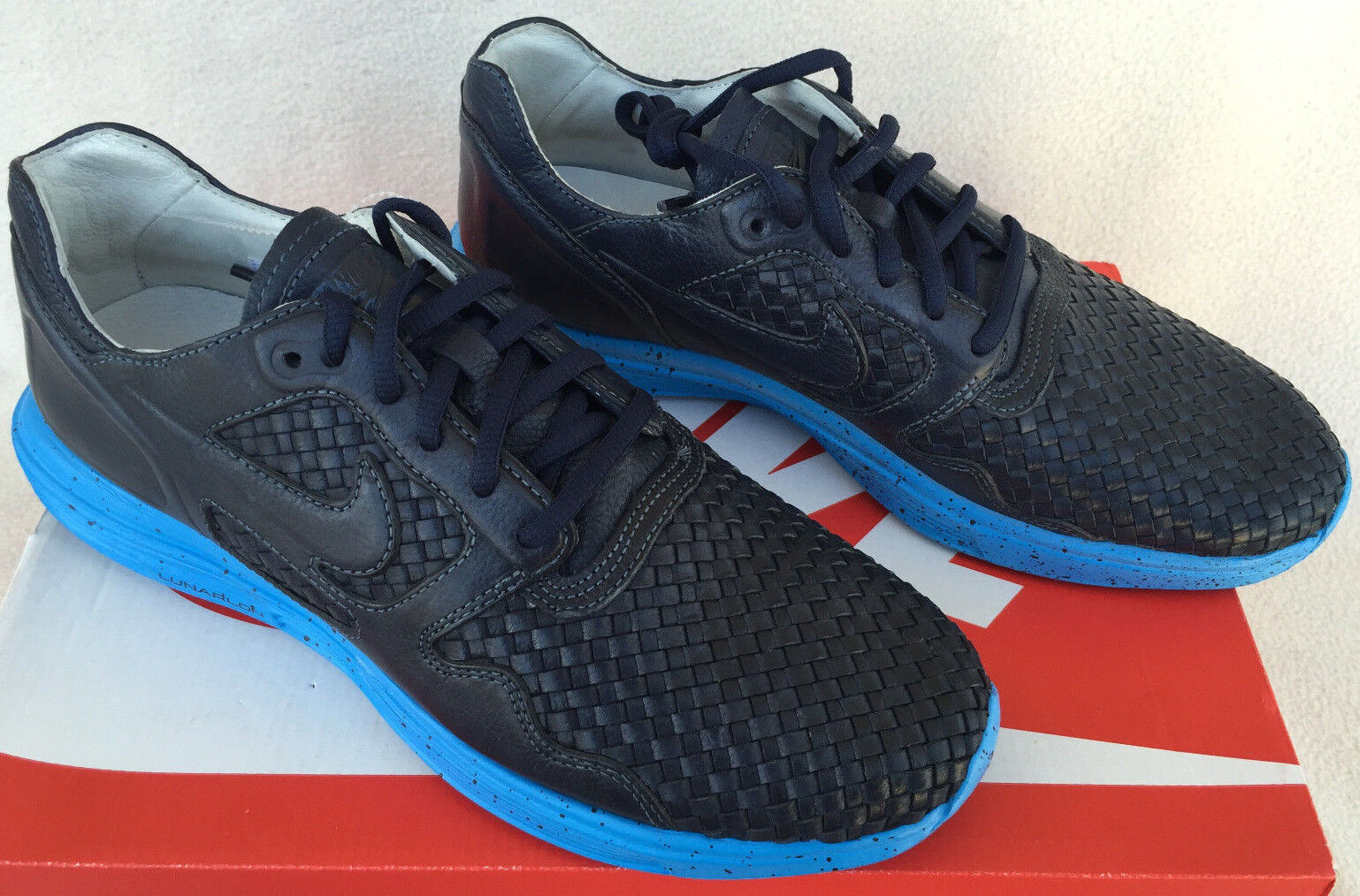 Nike + Lunar Flow Woven Leather TZ 559969-440 Obsidian Running shoes Men's 10