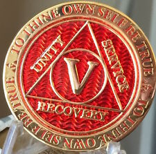 5 Year AA Medallion Red Gold Plated Alcoholics Anonymous Sobriety Chip Coin Five
