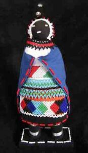 "Hand Beaded African Zulu Amachunu SANGOMA (Healer) Doll 13"" - Great Kwanzaa Gift"