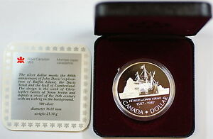 1987-Canada-Silver-Dollar-400th-Anniversary-of-John-Davis-039-Exploration-In-Box