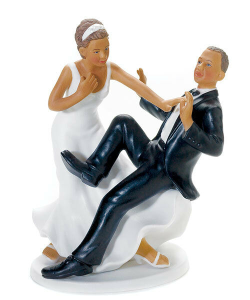 Taking Plunge  African American Wedding Cake Topper