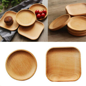 2Pcs-Wooden-Serving-Tray-Food-Coffee-Tea-Plate-Home-Decoration-Round-Square