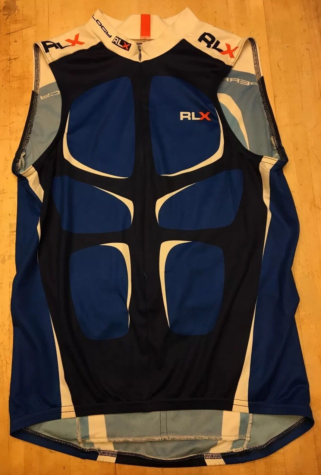 Mens Polo Sport RLX Sleeveless blu & bianca Cycling Jersey Medium