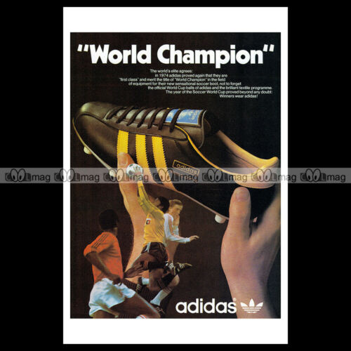 #phpb.001851 Photo ADIDAS /'WORLD CHAMPION/' WORLD CUP SOCCER 1974 Advert Reprint