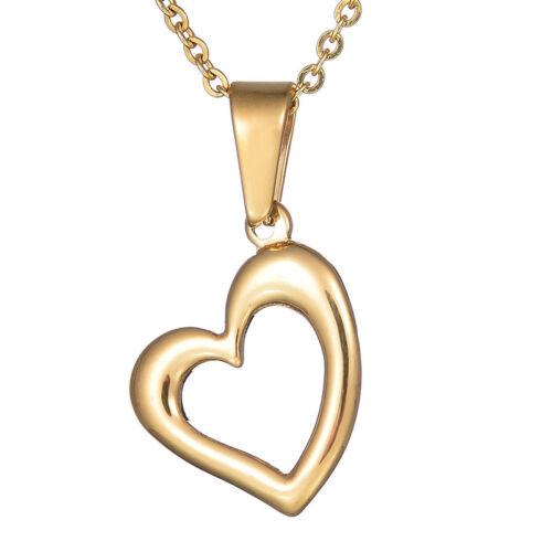 Mignon Or En Acier Inoxydable Coeur Amour Pendentif Coeur Tour de Cou Femmes Collier Bijoux