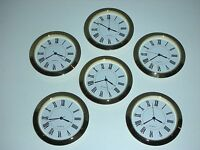 6 Pack, 2-1/8 (55mm) Premium Quartz Clock Insert, Gold Bezel, Metal Case, Roman