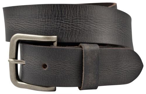 Black Vintage Full Grain Solid Buffalo Leather Belt w//Nickle Finish Buckle