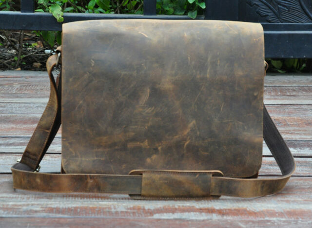 "Men Genuine Leather Cowhide Brown 13"" Satchel Crossbody Shoulder Messenger Bags"