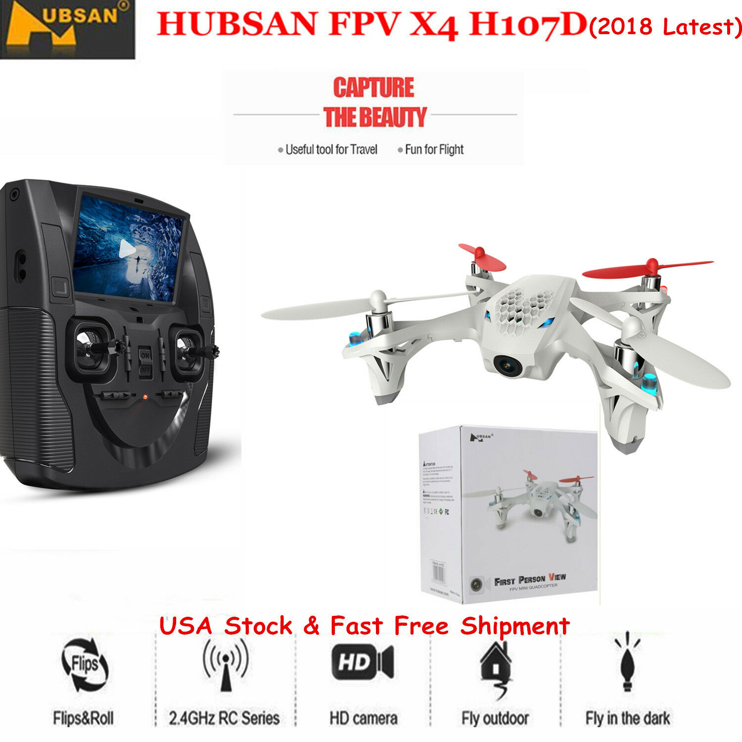 Hubsan x4 h107d 5.8g fpv 4ch rc quadcopter spielzeug w   480p hd - cam hat 360 rotierenden uns