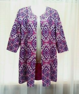 NEW WOMEN'S CHICO'S TRAVELERS REVERSIBLE CRUSHED IKAT JACKET SIZE 1 $139 MSRP