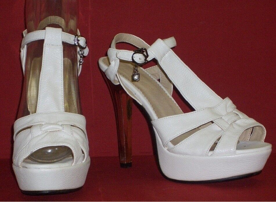 Classic Ladies High Heels White with Platform Size 37 New