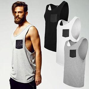 URBAN-CLASSICS-GOTHIC-UOMO-IN-ECOPELLE-POCKET-LOOSE-Canottiera-T-shirt-tb965