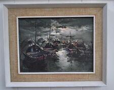 Asian Thailand Vietnam Oil Painting Night SEASCAPE Framed Rare Vintage