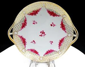 NIPPON-LFH-PINK-ROSE-amp-FLORAL-GOLD-BEADED-8-5-8-034-HANDLED-DISH-1920-039-s