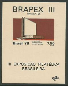 Bresil-1978-BRAPEX-III-Tampon-Exposition-Miniature-Feuille-SG-MS1714-MNH