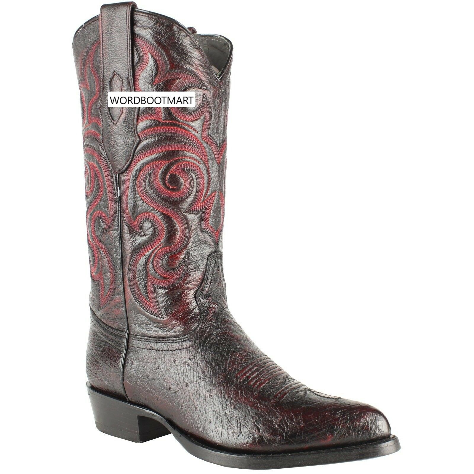 LOS ALTOS CHERRY GENUINE SMOOTH OSTRICH WESTERN COWBOY avvio J-TOE (EE)