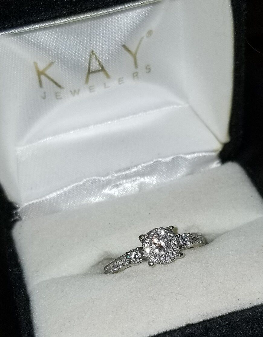 1339-Kay Jewelers 14k White gold 5 8cttw Halo cluster Diamond Engagement ring